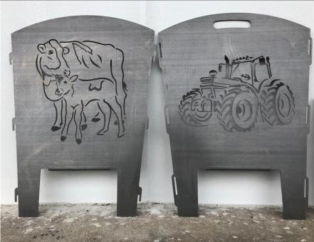 Feuerkorb Motiv Tracktor und Kuh mit Kälbchen