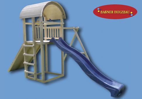 "Fichtenholz Spielturm Modell 10 ""BLUE"" ohne Zubehör 100cm ohne Rutsche 100cm | ohne Rutsche | ohne Zubehör"