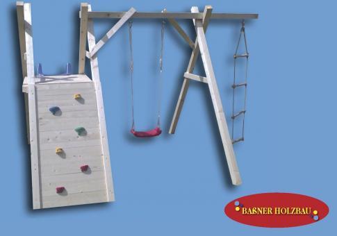Fichtenholz-Spielturm Modell 12, Schaukelgerüst mit Kletterwand ohne Zubehör ohne Rutsche ohne Rutsche | ohne Zubehör