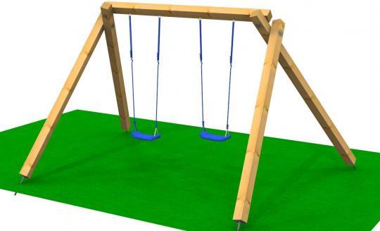 Holzschaukel Matrix  H = 2,40m, aus 12cm x 12cm Balken Kinderschaukel