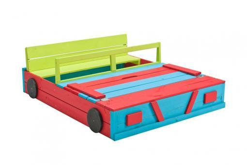 Sandkasten Auto bunt Sandkiste Buddeelkiste mit Abdeckung und Sitzbank 120x100cm Holzsandkasten