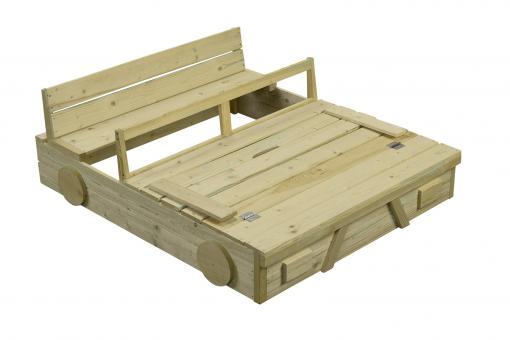 Sandkasten Auto imprägniert Sandkiste Buddeelkiste mit Abdeckung und Sitzbank 120x100cm Holzsandkasten