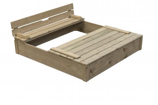 Sandkasten Roberto klein Sandkiste Buddelkiste mit Abdeckung und Sitzbank 120x120cm