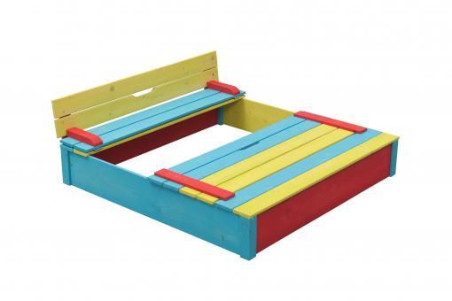 Sandkasten Seppel bunt Sandkiste Buddeelkiste mit Abdeckung und Sitzbank 120x120cm
