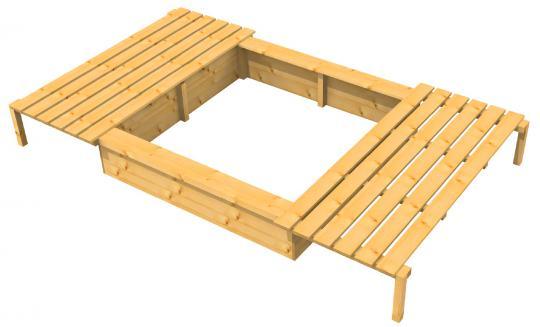 Sandkasten mit Schiebedeckel Holzart Lärche - Douglasie 200x200x47cm