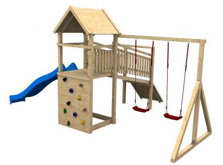 """Spielturm Modell 32 """"Berti"""" Doppelschaukel 2,38m hoch Brücke schreg und 2 Kletterwände ohne Zubehör ohne Rutsche ohne Rutsche   ohne Zubehör"""