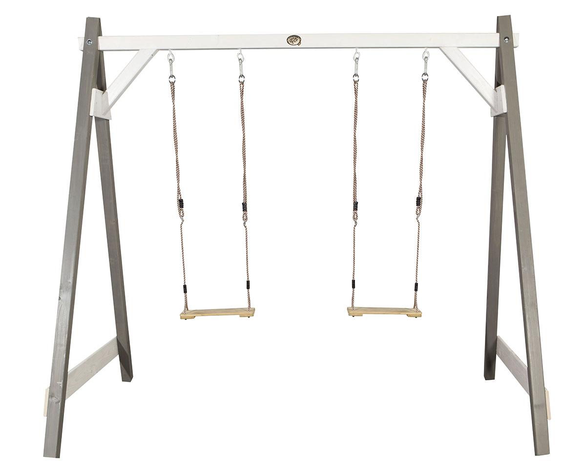 holzschaukel felix 2 als doppelschaukel grau wei grau wei online kaufen spielt rme direkt. Black Bedroom Furniture Sets. Home Design Ideas
