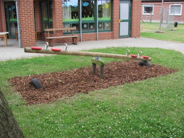 Garten holzwippe für 4 kinder rundholz ohne sitzteller für 4 kinder