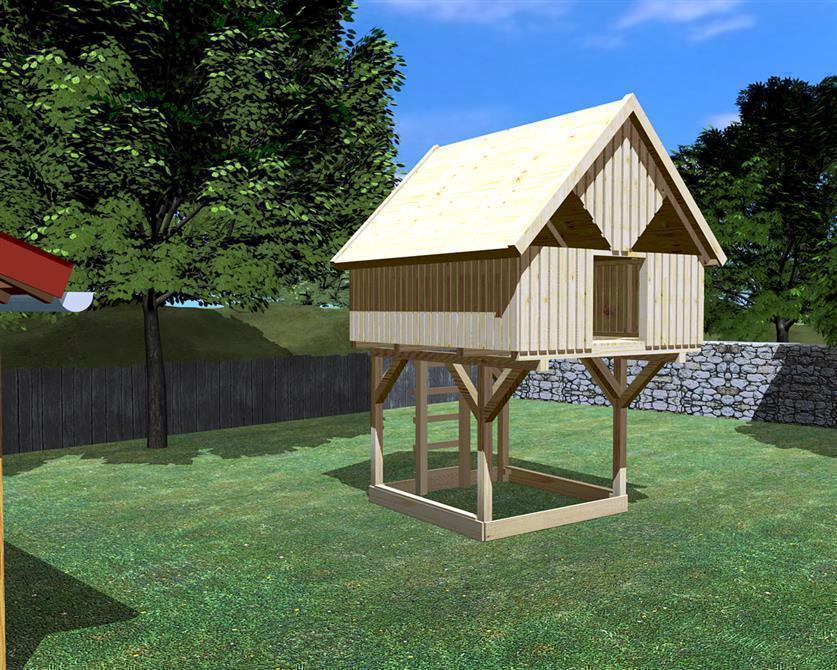 baumhaus auf stelzen oder unterbau modell 9 sonnenschein mit zubeh r set 9s ohne rutsche mit. Black Bedroom Furniture Sets. Home Design Ideas